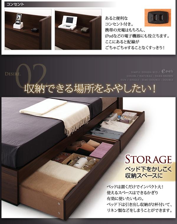 あると便利なコンセント付き。携帯の充電はもちろん、iPodなどの電子機器にも役立ちます。ここにあると配線がごちゃごちゃすることなくすっきり!Desire02:収納できる場所をふやしたい!Storage ベッド下をかしこく収納スペースにベッドは置くだけでインパクト大!使えるスペースはできるかぎり有効に使いたいもの。ベッド下は引き出し収納が2杯付いて、リネン類などをしまうことができます。