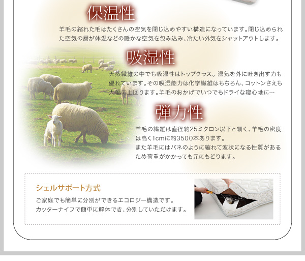 羊毛の繊維は直径約25ミクロン以下と細く、羊毛の密度は高く1cm2に約3500本あります
