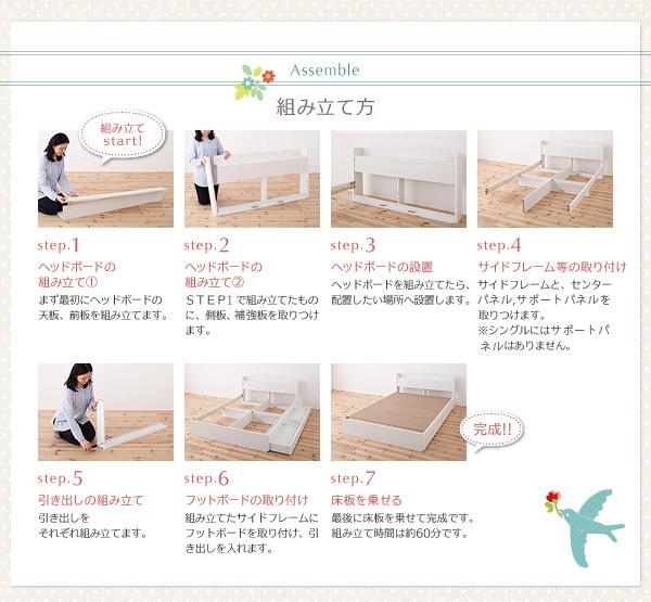 棚・コンセント付き収納ベッド【Fleur】フルール 組み立て方法