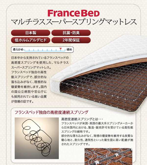 棚・コンセント付き収納ベッド【Fleur】フルール フランスベッド独自の高密度連続スプリング