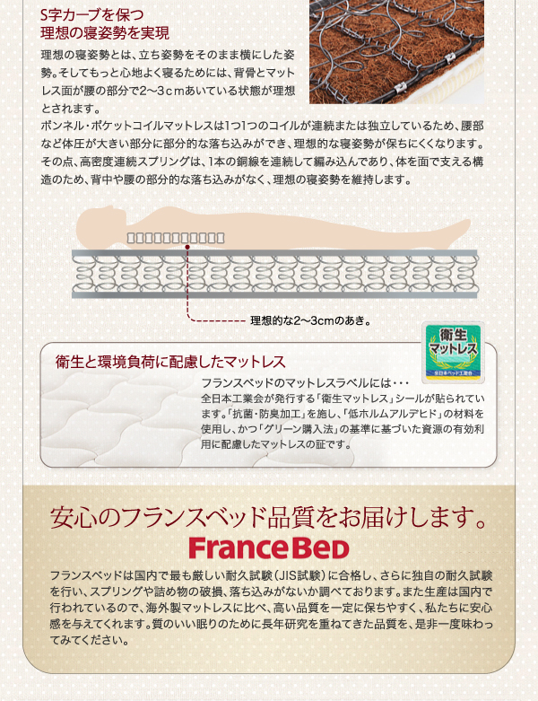 棚・コンセント付き収納ベッド【Fleur】フルール S字カーブを保つ理想の寝姿勢を実現