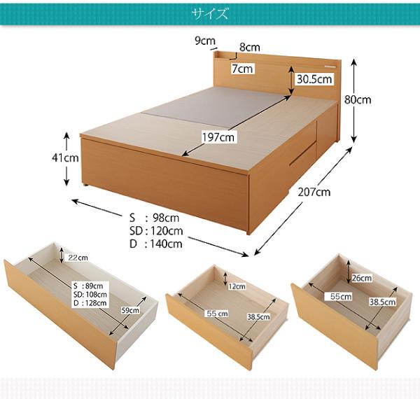 ベッド全長は、207cm