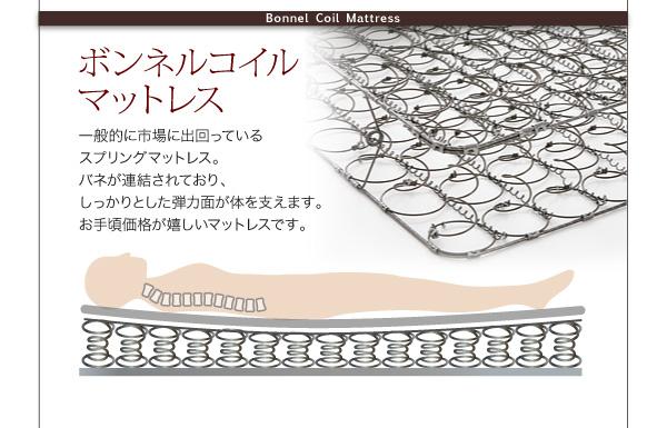 ●ボンネルコイルマットレス一般的に市場に出回っているスプリングマットレス。バネが連結されており、しっかりとした弾力面が体を支えます。お手頃価格が嬉しいマットレスです。