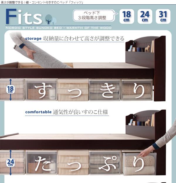 高さが調整できる宮付きすのこベッド【Fits】フィッツ