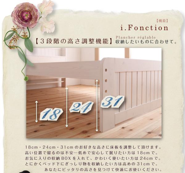 18cm・24cm・31cmのお好きな高さに床板を調整して頂けます