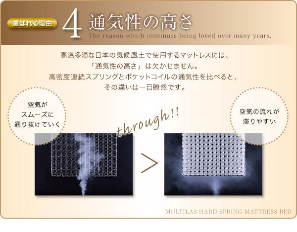 ◆理由4:通気性の高さ 高温多湿な日本の気候風土で使用するマットレスには、「通気性の高さ」は欠かせません。高密度連続スプリングとポケットコイルの通気性を比べると、その違いは一目瞭然です。・高密度連続スプリングだと、空気がスムーズに通り抜けていく。・ポケットコイルだと、空気の流れが滞りやすい。