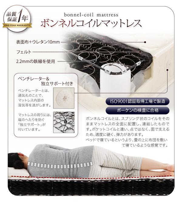 ●ボンネルコイルマットレス●【1年間保証】【ISO9001認証取得工場で製造】【ボーケンの検査に合格】ボンネルコイルとは、スプリング状のコイルをそのままマットレスの全面に配置し、連結したものです。ポケットコイルと違い、点ではなく、面で支えるため、適度に硬く、弾力があります。ベッドで寝ているというより、畳の上に布団を敷いて寝ているような感覚です。※ベンチレーター付き/ベンチレーターとは、通気孔のことで、マットレス内部の湿気等を逃がします。※独立サポート付き/マットレスの周りには、端のへたりを防ぐ「独立サポート」が付いています。