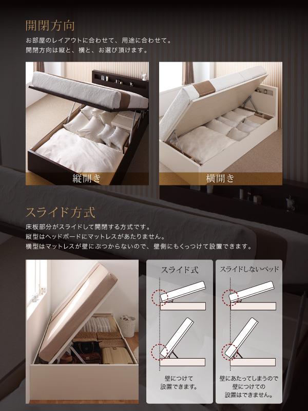 開閉方向お部屋のレイアウトに合わせて、用途に合わせて。開閉方向は縦と、横と、お選び頂けます。スライド方式床板部分がスライドして開閉する方式です。縦型はヘッドボードにマットレスがあたりません。横型はマットレスが壁にぶつからないので、壁側にもくっつけて設置できます。