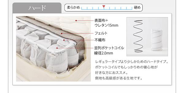 <ハード>レギュラータイプより少しかためのハードタイプ。ポケットコイルでもしっかりめの寝心地が好きな方におススメ。側地も高級感がある生地です。表面布+ウレタン15mm。ウレタン20mm。並列ポケットコイル線径2.0mm。