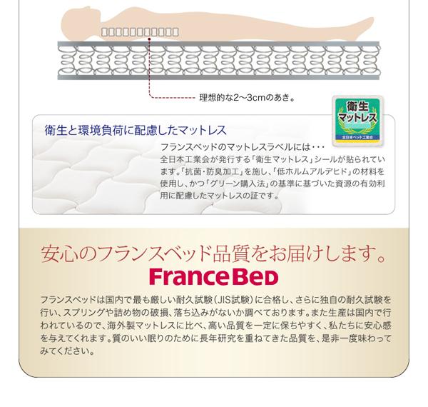 ・衛生と環境負荷に配慮したマットレスフランスベッドのマットレスラベルには、全日本工業会が発行する「衛生マットレス」シールが貼られています。「抗菌・防臭加工」を施し、「低ホルムアルデヒド」の材料を使用し、かつ「グリーン購入法」の基準に基づいた資源の有効利用に配慮したマットレスの証です。安心のフランスベッド品質をお届けします。フランスベッドは国内で最も厳しい耐久試験(JIS試験)に合格し、さらに独自の耐久試験を行い、スプリングや詰め物の破損、落ち込みがないか調べております。また生産は国内で行われているので、海外製マットレスに比べ、高い品質を一定に保ちやすく、私たちに安心感を与えてくれます。質のいい眠りのために長年研究を重ねてきた品質を、是非一度味わってみてください。