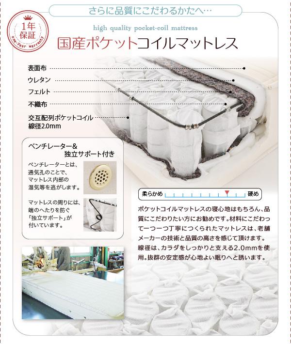 日本製ポケットコイルマットレスをご用意【1年間保証】