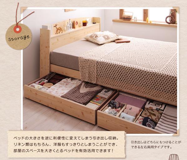 ベッドも大きさを逆に利便性に変えてしまう引き出し収納。