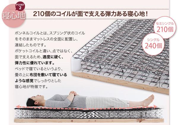 しっかりとした寝心地が人気。コイルが面で支える弾力ある寝心地。