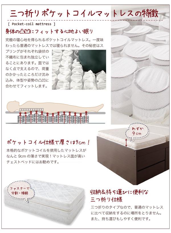 照明・コンセント付きチェストベッド【Fable】ファーブル