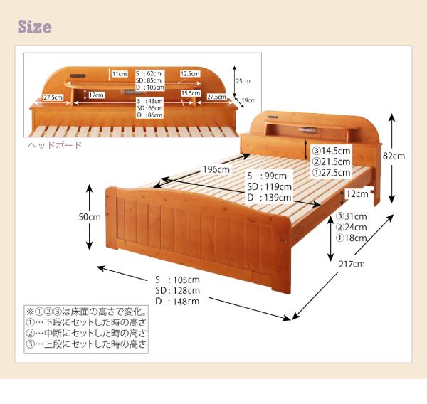 【サイズ】 シングル:(約)幅105×長さ217×高さ82cm セミダブル:(約)幅128×長さ217×高さ82cm ダブル:(約)148×長さ217×高さ82cm