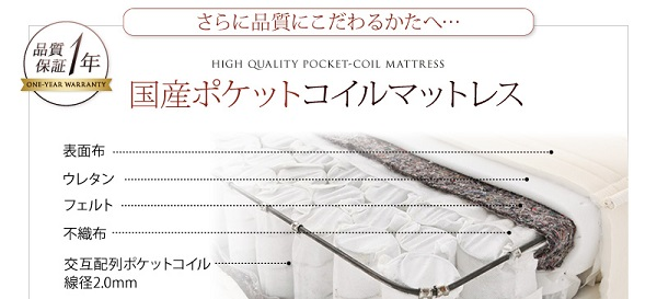 日本製ポケットコイルマットレスをご用意●【1年間保証】