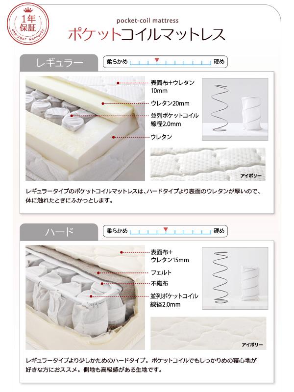 ●ポケットコイルマットレス:レギュラー&ハード●【1年間保証】